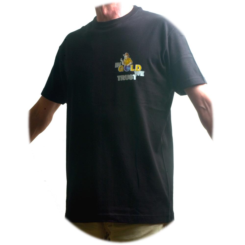 tee shirt homme avec logo chercheur d 39 or in gold we trust. Black Bedroom Furniture Sets. Home Design Ideas